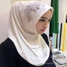 Heißer Verkauf Hijab bedeckt islamischen islamischen Arabric Chiffon- hijab einfachen Damenschal neue Art mit einer Kappe