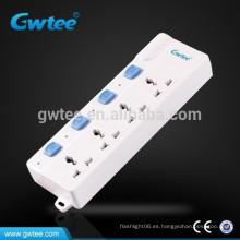 Hecho en China interruptor eléctrico seguro y tira de enchufe del zócalo con la protección de la sobrecarga