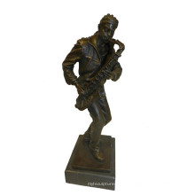 Escultura de bronze Tpy-753 do jogador do homem negro da estátua de bronze da decoração da música