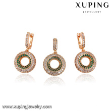 64208-xuping fashion jewelry 18k gold luxury aaa cz jewelry sets