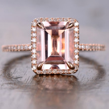 7x9mm Emerald Cut Morganite and Diamond Engagement Ring 14k Rose gold Halo Stacking Band