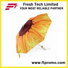 Paraguas abierto manual personalizado promocional para 3 plegables
