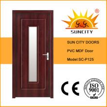 Sun City Interior PVC MDF Puerta de vidrio de madera (SC-P125)
