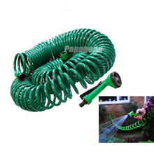 Garden Water Coil Hose with 4-Function Hose Nozzle