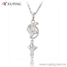 Bijoux fantaisie rhodié imitation bijoux Pendentif avec CZ Flower Design -30196