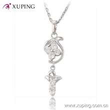 Fashion Charm Rhodium Imitation Jewelry Pendant with CZ Flower Design -30196