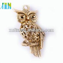 Cuentas de aleación de oro de Zinc Owl Beads con níquel libre de plomo CH181 #