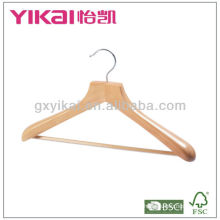 Wooden coat hanger with wide shoulders and wooden bar