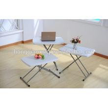 HDPE plástico plegable mesa ajustable para el estudio del niño, mesa de ordenador portátil, camping, uso general de restauración al aire libre mesa pequeña y barata