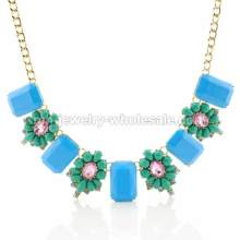 Alloy Accessories Inlay Glass Beads Beautiful Flower Chain Necklace