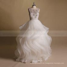 Flores de moda de los granos de lujo en la blusa V Vestido de bola de la falda del vestido de la falda atractiva de la parte posterior de la boda