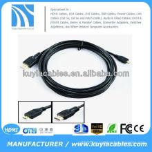 6FT 1.8M Cable micro HDMI de alta velocidad 3D con Ethernet, varón de HDMI al varón masculino micro D 1080P