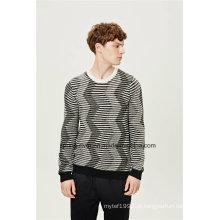 Padrão rodada pescoço especial Striped Knit Men Sweater