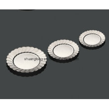 """Round Hard Plastic Silver Party Plate 7"""""""
