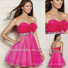 A Line High Waist Avestruz Hair Feather Crystal Cetim Vestido Homecoming Dress Graduation Gown