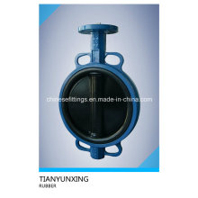 Ci Di Ductile Iron Single Shaft Rubber Coating Butterfly Valves