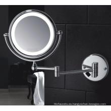 Hotel Wall Mount doble cara LED iluminado baño espejo de afeitar con lupa para baño