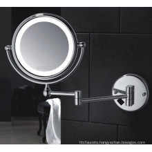 Hotel Wall Mount Double Sided LED Lighted Bath Shaving Mirror with Magnifier for Bathroom