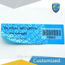 Etiqueta de segurança de impressão personalizada com longa vida