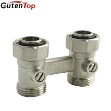 Gutentop latão ou aço inoxidável cromado em linha reta latão H válvula de radiador