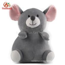 Jouet gris de peluche d'animal gris peluche de Noël mignon gros jouet de souris de peluche gris avec de grands yeux