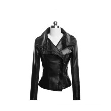 15PKPU05 winter fashion leather jacket women