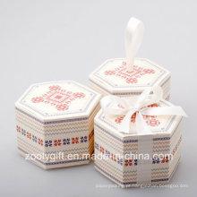 Caixa de cartão de papel de impressão hexagonal para doces de maçã