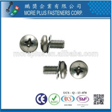 Taiwan Philip Pan Head Soft Machine Screw With Header Point SEMS With Double Washer External Tooth Washer and Flat Washer