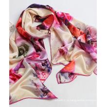 100% lenços de seda impressão digital 100% xales de seda