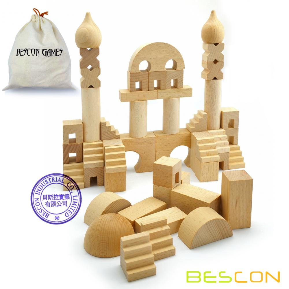 Original Wood Building Blocks Wooden Toys 52pcs Set with Canvas Carry Case, Baby Children Early Educational Enlightenment Toy