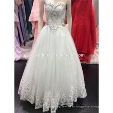 2016 Vestido de novia de Tulle Soft Tulle con Emroidered Lace Sequins Beads Crystals Cuello A094