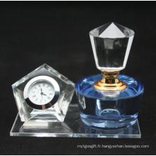 Flacon à parfum en cristal pour décoartion de bureau avec horloge (JD-XSP-208)