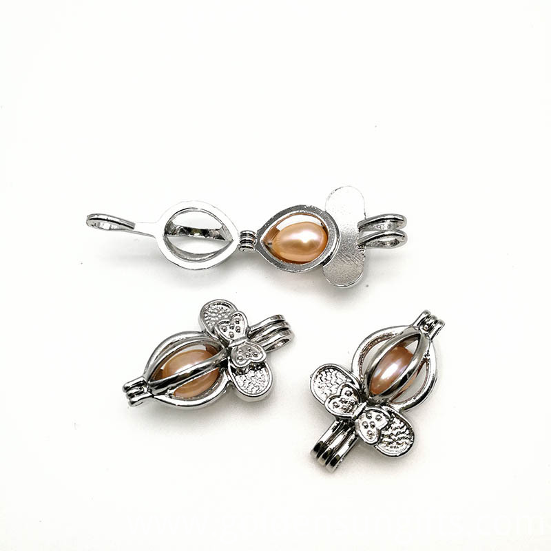 Silver Bowknot Ball Cage Pendant