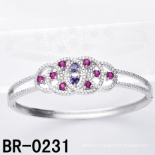 Sterling Silver Micro Pave Colored CZ Bangle (BR-0231)