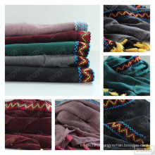 Fashion New plain DUSTY PINK tassels viscose scarf shawl muslim Embroidered Premium cotton hijab Tassel Bordered Scarf