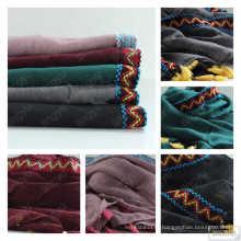 Мода Новый простой пыльный розовый кистями вискоза шарф шаль мусульманин вышитые хлопок Премиум кисточкой хиджаб, Окаймленные шарф