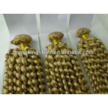 100 human blonde kinky curly hair weave