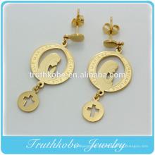2016 Nuevo estilo de acero inoxidable bendecido Virgen María oro pendientes magnéticos