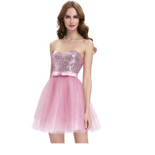 Starzz 2016 New Design Strapless Sequined Tulle Short Cocktail Dress ST000114-1