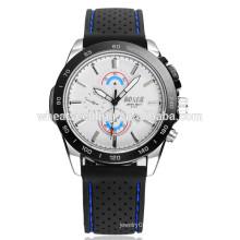 Esporte calendário dois olhos preto pulseira relógio silicone
