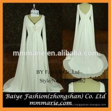 Слоновая кость шифон свадебное платье сексуальная V шеи с длинными рукавами свадебные платья свадебные платья