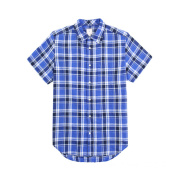 Man Check Linen Mix Cotton Short Sleeve Casual Shirt