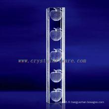 Cristal gravé par Apple de K9 3D laser avec la forme de pilier