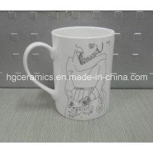 Taza fina de Bone China, taza recta de 10oz de hueso de China