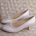 Kleine Clear Beaded Bridal Shoes Low Heeled