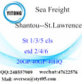 Shantou Port Sea Freight Shipping To St.Lawrence