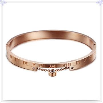 Jóia de aço inoxidável jóia de cristal moda pulseira (br569)