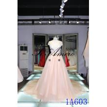 Guanzhou A-line princesse type robes crémeux sexu retour ouvert robe de soirée chapeau de champagne manche robe de mariée rose