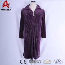 Super comfortable micromink robe embossed flower zipper bathrobe