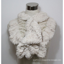 Lady Fashion Polyester Faux Fur Lace Knitted Scarf (YKY4365B-3)